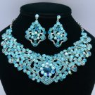 Blue Zircon Heart Flower Necklace Earring Jewelry Set W Rhinestone Crystal 02633