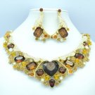 Stylish Heart Brown Rhinestone Crystals Flower Necklace Earring Set 04526