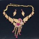Pretty  Animal Swan Necklace Earring Set W/ Pink Swarovski Crystals