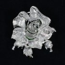 Rhinestone Crystals Retro Cute Green Rose Flower Brooch Broach Pin 2.1""