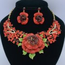 Exquisite Red Rose Flower Necklace Earring Set W/ Rhinestone Crystals 02523