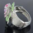 Pretty Pink Flower Bracelet Bangle Cuff W/ Rhinestone Crystals E7174