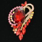 "Cute Flower Pendant Brooch Pin 2.8"" w/ Red Rhinestone Crystals 4998"