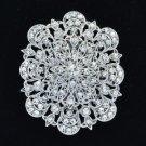 """Rhinestone Crystals Clear Flower Brooch Broach Pin 2.7"""" Wedding BT5056"""