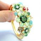 Ladybug Enamel Green Flower Bracelet Bangle W/ Swarovski Crystals 45601