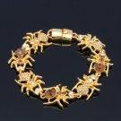 Halloween Lnsect 7 Spider Bracelet Bangle Swarovski Crystals Brown SKCA1859
