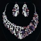New Purple Rhinestone Crystals Trendy Floral Flower Necklace Earring Set 04370