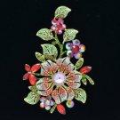 """Pretty Red Flower Leaf  Brooch Pin 4.8"""" w/ Rhinestone Crystals 8804712"""