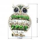 "Vintage Vogue Green Animal Owl Brooch Pin 2.7"" Rhinestone Crystals"