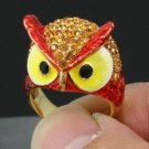 Swarovski Crystals High Quality Animal Cute Red Bird Owl Cocktail Ring Sz 6#