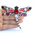 """Cut Dragonfly Brooch Broach Pin 3.7"""" Red Rhinestone Crystals"""