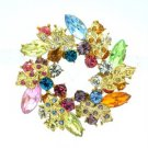"Rhinestone Crystals Multicolor Round Leaf Flower Brooch Pin 2.1"" W/ Gold Tone"