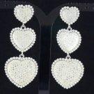 Swarovski Crystals Silver Tone Clear 3 Heart Dangle Pierced Earring