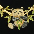 Gold Tone Bamboo Animal Panda Necklace Earring Jewelry Sets Swarovski Crystals