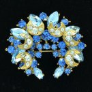 "Pretty Blue Flower Moon Brooch Broach Pin Rhinestone Crystals 2.2"" BT3359"