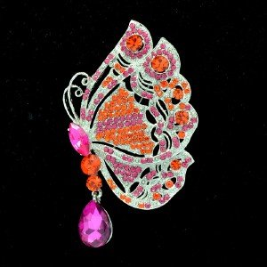"Fuchsia Scalewing Butterfly Brooch Broach Pin 3.4"" W/ Rhinestone Crystal 8805707"