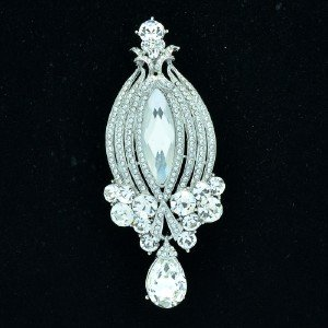 """5705 Wedding Rhinestone Crystals Clear Flower Brooch Broach Pin 3.8"""""""