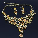 Vintage Rhinestone Crystals Brown Flower Necklace Earring Set 02189