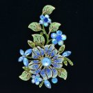 "Pretty Blue Flower Leaf  Brooch Pin 4.8"" w/ Rhinestone Crystals 8804712"
