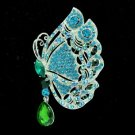 "Rhinestone Crystals Blue Scalewing Butterfly Brooch Broach Pin 3.4"" 8805707"