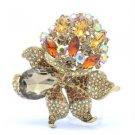 "5851 Vintage Style Brown Rhinestone Crystals Flower Pendant Brooch Pin 3.1"""
