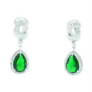 Elegant Pierced Green Zircon Teardrop Earring W/ Swarovski Crystals 20998