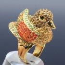Vintage Style Swarovski Crystals Brown Bird Duck Cocktail Ring Size 8#