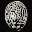 """Chic Clear Flower Pendant Brooch Broach Pin 2.8"""" W/ Rhinestone Crystals 4887"""