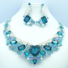 Stylish Heart Blue Rhinestone Crystals Flower Necklace Earring Set 04526