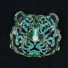 "5113 Rhinestone Crystals Animal Wild Green Tiger Pendant Brooch Broach Pin 2.2"""