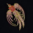 """2338 Vintage Style Rhinestone Crystals Red Peafowl Peacock Brooch Pin 3.4"""""""