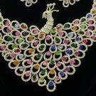 Unique Swarovski Crystals Animal Multicolor Peafowl Peacock Necklace Earring Set