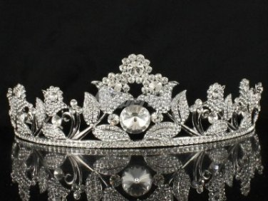 Beautiful Bridal Wedding Tiara Crown W/ High Quality Clear Swarovski Crystals