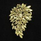 "Trendy Flower Brooch Broach Pin 3.3"" W/ Rhinestone Crystal Multi-Colored"