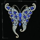 Rhinestone Crystals Blue Scalewing Butterfly Brooch Broach Pin 8803683