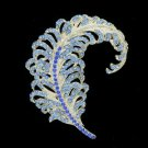 "Feather Brooch Broach Pin 3.1"" W/ Blue Rhinestone Crystals 5065C9"