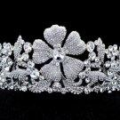 Silver Tone Weding Floral Flower Tiara Crown Clear Swarovski Crystals SH8580