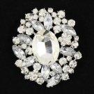 """4888 Wedding Rhinestone Crystals Clear Pendant Flower Brooch Broach Pin 2.5"""""""