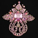 "Vintage Style Pink Flower Brooch Broach Pin 4.5"" W/ Rhinestone Crystals 8804249"