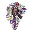 """3.3"""" Purple Flower Brooch Broach Pin W/ Rhinestone Crystals 8804857"""