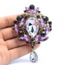 "Chic Trendy Flower Brooch Broach Pin 3.5"" W/ Purple Rhinestone Crystals 8804082"