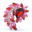 "4993 Flower Pendant Brooch Broach Pin 2.7"" Red Rhinestone Crystals"