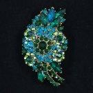 "Emerald Floral Flower Pendant Brooch Pin 2.9"" W/ Rhinestone Crystals 8805092"