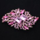 "Rhinestone Crystals Pink Fashion Flower Brooch Broach Pin 3.7"" 4079"