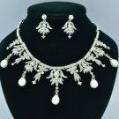 Drop Imitation Pearl Necklace Earring Set W/ Clear Crystal Bridal Wedding 27349R