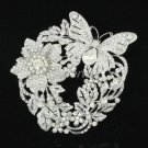 Silver Tone Clear Flower Butterfly Brooch Broach Pin w/ Rhinestone Crystals 4489