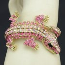 Pretty Fashion Pink Crocodile Bracelet Bangle Cuff W/ Swarovski Crystals