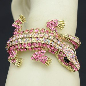 Pretty Fashion Pink Crocodile Bracelet Bangle Cuff W/ Swarovski Crystals