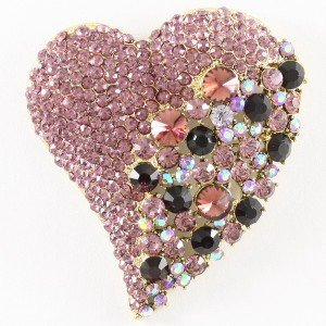 Huge Love Heart Brooch Pin w/ Purple Rhinestone Crystals