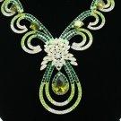 Teardrop Pretty Flower Necklace Earring Set w/ Green Swarovski Crystals Zircons